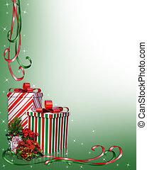 weihnachten, umrandungen, geschenke, und, blumen