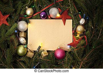 weihnachten, umrandungen, mit, frei, raum, fo