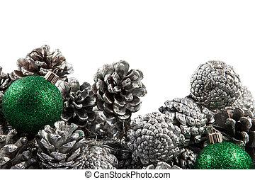 weihnachten, umrandungen, mit, kegel, und, grün, balls., raum, für, copy.