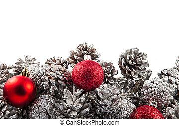 weihnachten, umrandungen, mit, kegel, und, rotes , balls., raum, für, copy.