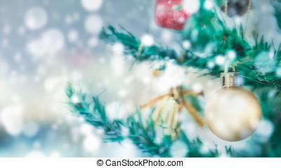 weihnachten, und, frohes neues jahr, 2017, bunte, dekoriert, weihnachtsbaum, weiß, bokeh, hintergrund, kopieren platz