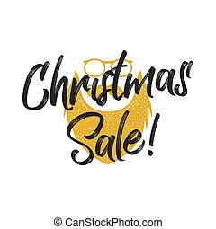 weihnachten, verkauf, beschriftung, und, typographie, elemente, mit, santa, charachter., feiertag, on-line einkäufe, art, quote., haben abbildung lager, freigestellt, weiß, hintergrund