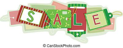 weihnachten, verkauf preis, etikette