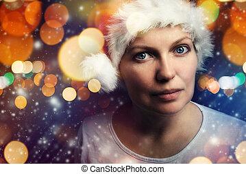 weihnachten, weibliche schönheit, porträt, mit, schneeflocken