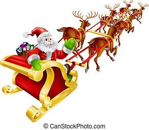 weihnachten, weihnachtsmann, fliegendes, in, schlitten