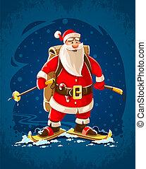 weihnachten, weihnachtsmann, fröhlich, karikatur, zeichen