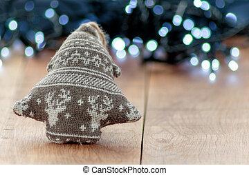 weihnachten, wolle, dekoration, mit, fokus, hintergrund