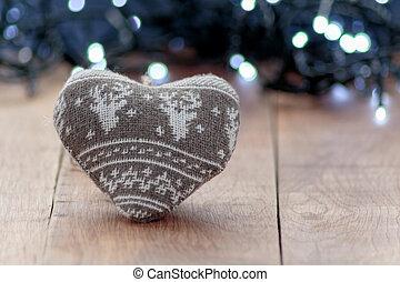 weihnachten, wolle, herz- form, dekoration, mit, fokus, hintergrund