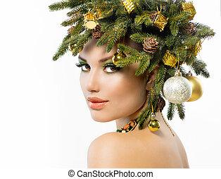 weihnachten, woman., weihnachtsurlaub, frisur, und, aufmachung