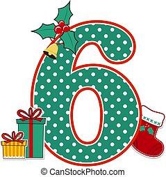 weihnachten, zahl, dekoration, 6...
