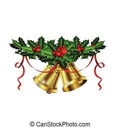 weihnachten, zweig, holly beeren, silber, glocken