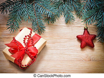 weihnachten., zweig, von, tanne, und, kasten, mit, gift.