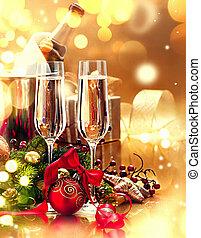 weihnachtlicher tisch, einstellung, mit, champagner., jahreswechsel, und, weihnachtsfeier
