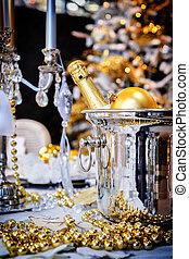 weihnachtlicher tisch, einstellung, mit, champagner