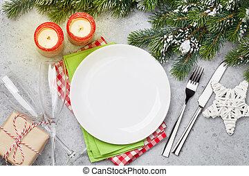 weihnachtlicher tisch, einstellung, mit, champagner, und, weihnachten geschenk