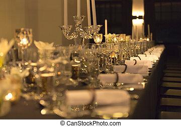 weihnachtlicher tisch, einstellung, mit, retro stil
