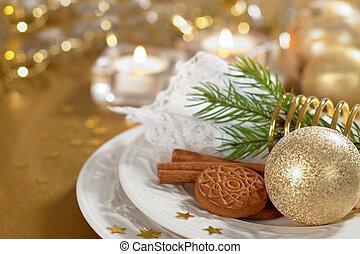 weihnachtlicher tisch, einstellung