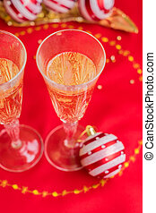 weihnachtlicher tisch, mit, champagner