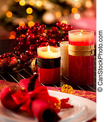 weihnachtlicher tisch, setting., feiertagsdekorationen