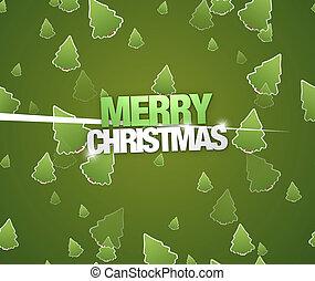 weihnachtsbäume, grüner hintergrund