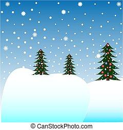 weihnachtsbäume, in, der, schnee
