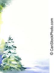 weihnachtsbäume, unter, schnee