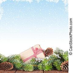 weihnachtsbaum, auf, holztisch, mit, schnee, hintergrund