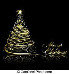 Goldenes gemacht eps10 schneeflocken gold baum abbildung hintergrund vektor schwarz - Schwarzer weihnachtsbaum ...
