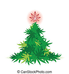 weihnachtsbaum, cannabis blatt
