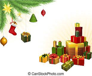 weihnachtsbaum dekorationen, und, geschenke