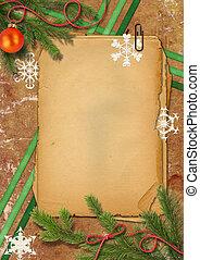 weihnachtsbaum, grunge, papiere, und, schneeflocke