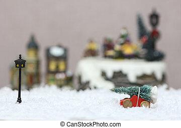 weihnachtsbaum, kinderauto