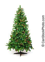 weihnachtsbaum, mit, bunte, lichter, freigestellt, weiß