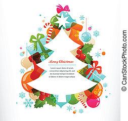 weihnachtsbaum, mit, etiketten, und, dekorative elemente