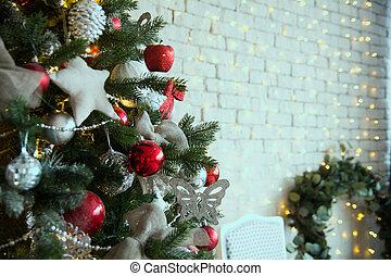 weihnachtsbaum, mit, rotes , kugeln, und, self-made, sternen