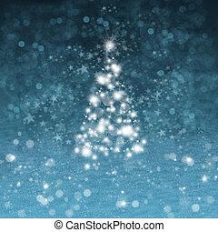 weihnachtsbaum, mit, schnee