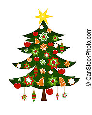 weihnachtsbaum, mit, verzierungen