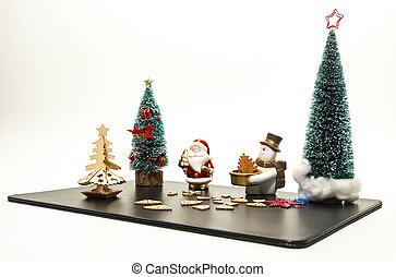 weihnachtsbaum, mit, weihnachtsmann