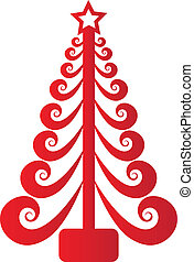 weihnachtsbaum, rotes , swirly, vektor