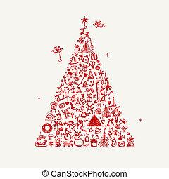 weihnachtsbaum, skizze, für, dein, design
