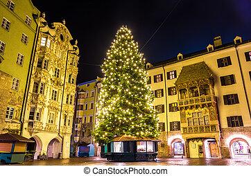 weihnachtsbaum, stadt, zentrum, von, innsbruck, -, österreich
