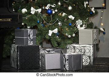 weihnachtsbaum, und, geschenk boxt