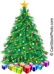 weihnachtsbaum, und, geschenke
