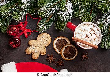 weihnachtsbaum, und, heiße schokolade, mit, eibisch