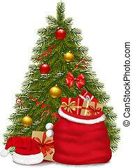 weihnachtsbaum, und, santa, tasche, mit, gifts., vektor,...