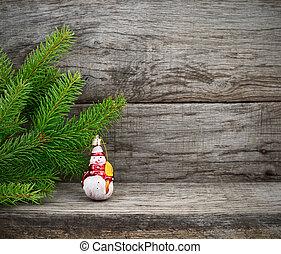 weihnachtsbaum, und, spielzeug, snowman.