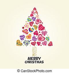 weihnachtsbaum, von, lieben herz