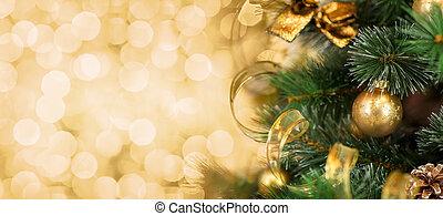 weihnachtsbaum, zweig, mit, verwischt, goldener hintergrund