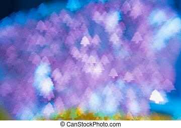 weihnachtsbaumlichter, bokeh, verwischt, fokus, hintergrund