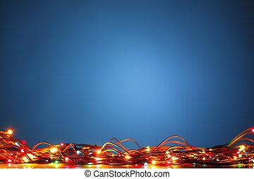 Blaue Weihnachtsbeleuchtung.Blaue Lichter Kunst Weihnachten Hintergrund